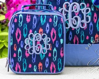 Monogrammed Lunchbox in Laney Leopard Pattern, Girls School Lunchbox, Personalized School Bags for Girls, Leopard Pattern, Navy Lunchbags