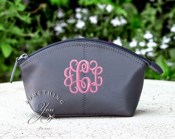 Gray Monogrammed Small Leather Cosmetic Bag Personalized Leather makeup case monogrammed bridesmaids bags natural leather make up grey