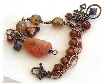 Orange quartz bracelet - Boho charm bracelet - Chunky multi strand bracelet - Rustic bohemian bracelet - Gift for her