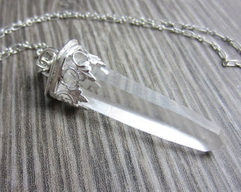 Crystal Spear Necklace in Sterling Silver