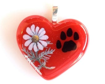 Dog Pendant,  Fused Glass Heart, Dog Lovers Necklace, Dog Paw. Daisy, Permanent Decals