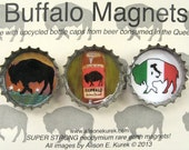 Buffalo Magnets - Flag of Italy - Italian Buffalo - Buffalo Bottle Cap Magnets - Packaged Gift Set of 3 - Buffalo NY