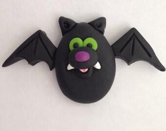 Bat Halloween Pin Hand Sculpted Clay