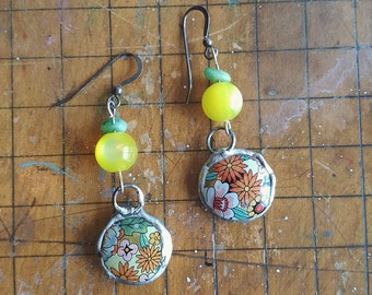Dangle Earrings with Repurposed Vintage Tin Floral Bead