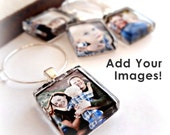 4 Custom Made Photo Wine Charm Party Favorsl Scrabble Size Glass l Fits on Coffee Cups, Champagne Glasses l Wedding, Brides, Mom, Grandma