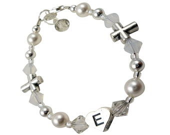 Custom cross Initial Bracelet, Baptism Christening Bracelet, First communion, pearl - baby - all sizes and ages