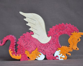 Fantasy Mama Dragon with Hatchlings Wood Puzzle Hand Cut with Scroll Saw Toy