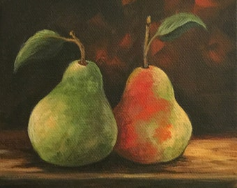 """Fall Pears 6"""" x 6"""" Original Still Life Pear Still Life Painting on Gallery Wrapped Canvas by Torrie Smiley"""