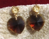 Delicate amber swarovski heart earrings on gold plate findings