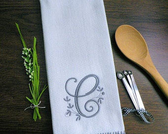 Gray Monogrammed Kitchen Towel, Gray Home Decor
