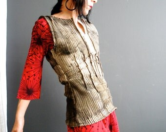 Machine and Soul - iheartfink Handmade Hand Painted Hand Printed Womens Futuristic Fitted Sleeveless Zipper Jersey Vest Top