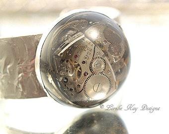 Gears Steampunk Bracelet Soldered Resin Dome Watch Parts Cuff Lorelie Kay Original