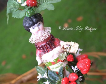 Strawberry Fields Art Doll Original Whimsical Assemblage Art Doll Altered Bottle Sculpture