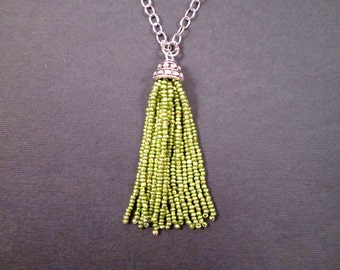 Tassel Necklace, Metallic Green Glass Beaded Fringe Necklace, Silver Rhinestone Pendant Necklace, FREE Shipping U.S.