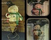 Primitive Snowman E Pattern Ornament Double Dip Snowman Cone