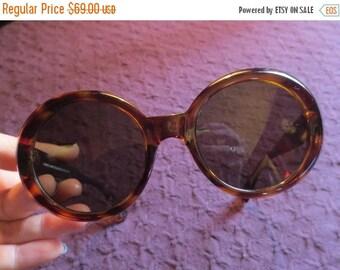 SALE Vintage Italy Italian Sunglasses Tortoise Shell Large Round Lenses