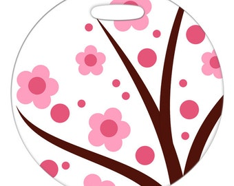 Luggage Tag - Little Pink Flowers - Round Plastic Luggage Bag Tag