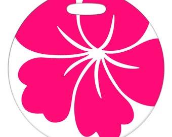 Luggage Tag - Aloha Pink Flower - Round Plastic Luggage Bag Tag