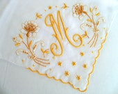 Vintage Monogram M Handkerchief with Beautiful Gold Madeira Embroidery