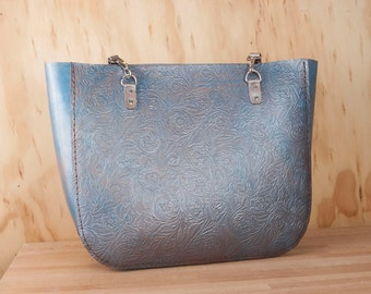 Leather Tote - Large Floral Tooled Leather Tote in Blue and Silver - Handmade Oversize Purse