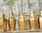 Gold vases, gold wedding decor,  Set of 6 CUSTOM gold dipped vintage bouquet vases, gold painted vase, wedding table decor, wedding bouquet