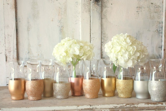 Gold Wedding Decor 24 Mixed Metal Finish Dipped Vases Table