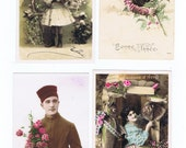Postcard Collectors.Boho.Romantic.Antique.LOT of FOUR.retro.Paris.french.rare.scrap book.lovers.home deco.author.writer.vintage.crafting.art