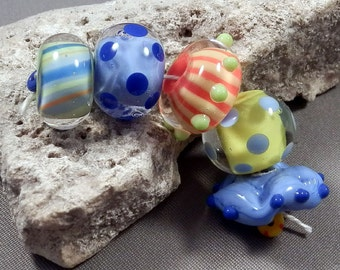 Handmade Lampwork Beads by Monaslampwork - Colorful Summer Beads - Lampwork Glass Beads by Mona Boho Organic Colorful Gypsy Tribal Dots