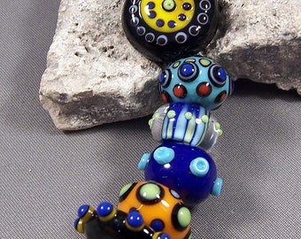 Handmade Lampwork Beads by Monaslampwork - Black Dotted Focal and Multi Colored Dots on Dots - Lampwork Glass Beads by Mona Sullivan Organic