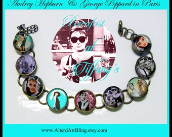 Audrey Hepburn bracelet, altered art  bracelet...ready to ship with gift box,  jewelry, Paris, french, breakfast at tiffanys, Audrey Hepburn