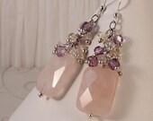 Pink Rose Quartz Earrings, Purple Yellow Ametrine, Sterling Silver, Elegant Dressy Long Dangle Earrings EHOP