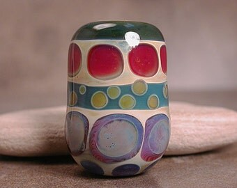 Lampwork Focal Bead Borosilicate Glass Lines and Dots Series Divine Spark Designs SRA