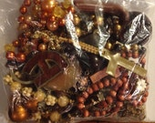 Brown bead and charm lot