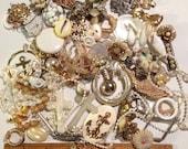 Large lot of white vintage destash charms