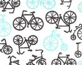 CLEARANCE 2 Yards Michael Miller Bloom Bicycles-It's a Boy Thing in Haze