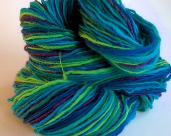 Water, handspun wool singles yarn, 60 g/224 yds