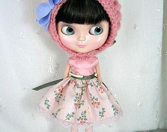 Blythe Doll Dress,  Hat,  Dress. Pink Floral n Silk