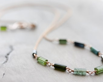 Rose gold & green tourmaline necklace - long layering necklace - 14k rose gold filled with green tourmaline crystals