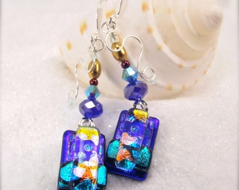 Fused glass jewelry, dichroic modern earrings, dichroic fused glass, hana sakura, sapphire blue earrings, dichroic earrings, jewelry, gift