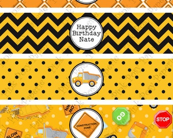 Printable Construction Truck Birthday Water Bottle Wrappers