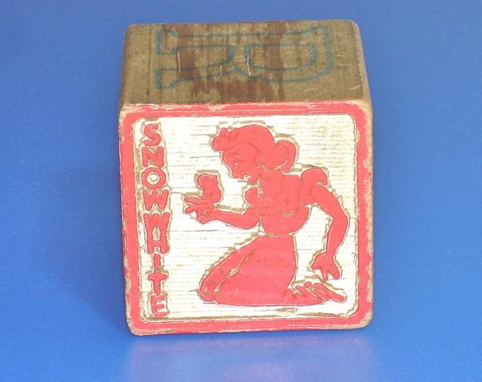 Vintage 1960s Snow White Wood Block Letter M