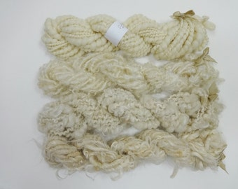 Rustic Bulky Handspun Art Yarn Mini Skein Collection Natural Neutrals Variety Pack cream ivory taupe