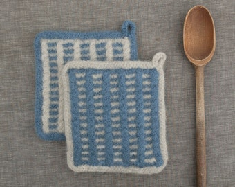 Handmade Felted Wool Pot Holder for the Modern Kitchen in Blue and Light Gray