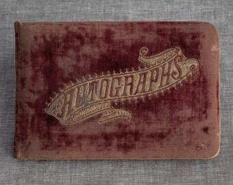 Antique Maroon Velvet Autograph Book of Friendship 1889 thru 1897
