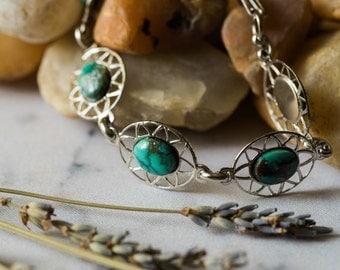 River Goddess Bracelet - Vintage Silver, Natural Turquoise - Bohemian, Simple, Green Blue - December Birthstone - Yugen, Wild Heart