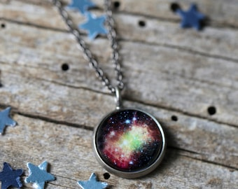 Dumbell Nebula Pendant - Galaxy Space Necklace - Antique Silver or Bronze - Cosmic Jewellery, Outer Space Universe Jewelry, Science Gift
