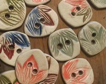 FREE SHIPPING Set of 16 Handmade Ceramic Buttons - Lotus Petals