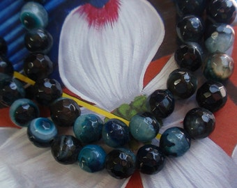 Large Hole Faceted Middnight Blue/Black Agate Gemstone Bead Strand