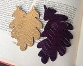 Leather Leaf Earrings Woodland Fairy Embossed