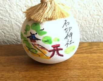 Japanese Ceramic Bell - Dorei - Suzu - Amulet - Lucky Charm - Vintage Bell - Ishikiri Shrine in Osaka - Migawari Omamori (B3)